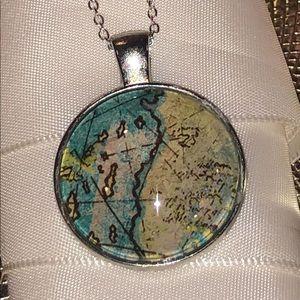 Evalina's Creations Jewelry - Glass map pendant